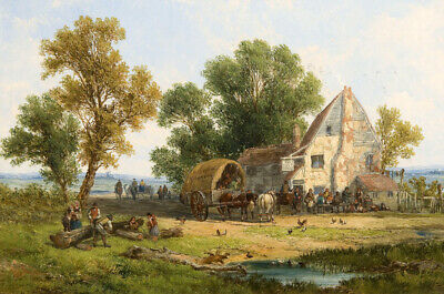 Country Scene With Animals and People oil painting Printed on canvas L2587
