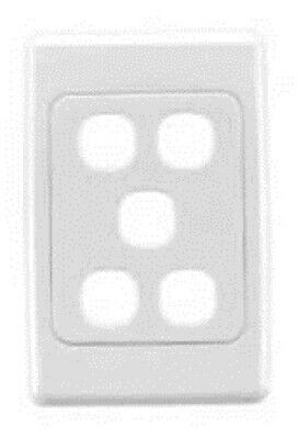 Clipsal 2000-SERIES STANDARD FLUSH PLATE 116x76mm 5-Gang With Surround WHITE