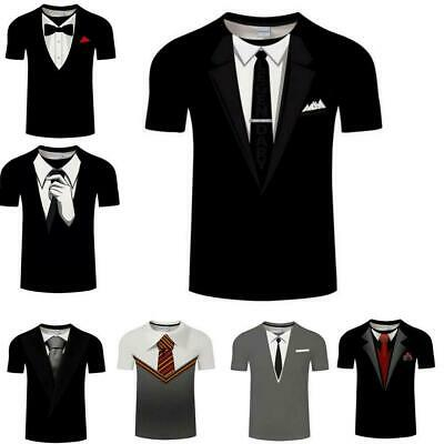 Suit Tie Tuxedo 3d t shirt  Mens Womens Casual  Short Sleeve Tops Graphic Tee