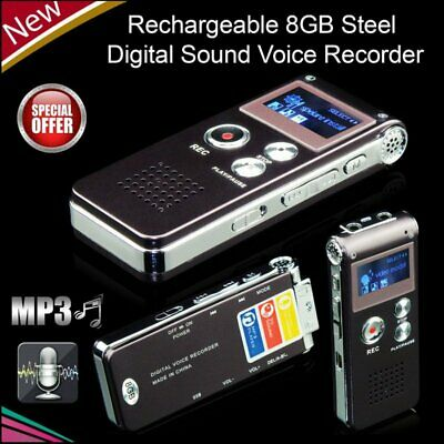 8GB Digital Voice Recorder Rechargeable Dictaphone Recording Pen MP3 Player UE