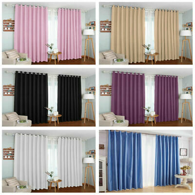 Thermal Blackout Curtains Ready Made Eyelet Ring Top Or Pencil Pleat Tie Backs
