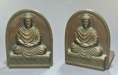 Set of Antique TIFFANY STUDIOS New York Bronze Buddha Bookends Signed ca.1900's