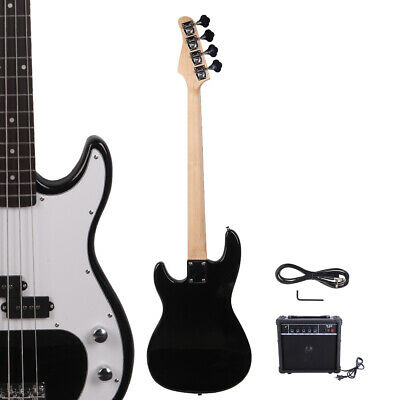 New Black Glarry GP 4 Strings School Band Electric Bass Guitar with AMP