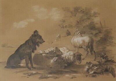 Antique Drawing, Pastoral Scene Painting, Original French 19th Century Art
