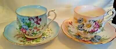 Two Stunning Colorful Royal Albert Tea Cups and Saucers Happy Spring!