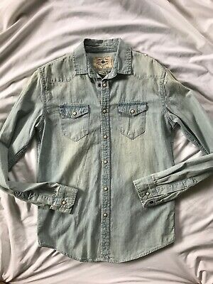 cb8b4d1b The Zara Man Men's Denim Shirt Small Slim Fit Pearl Snap Front Long Sleeve  NEW