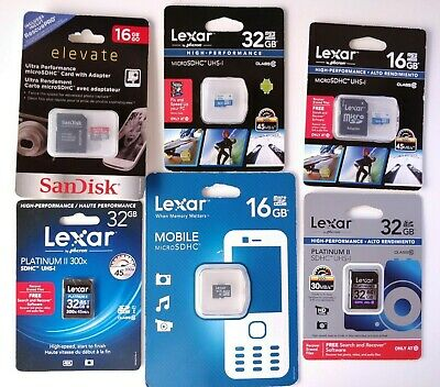 Lot of 6 sealed new Lexar & SanDisk Micro SD & SD cards: 16/32 GB class 10 UHS-1