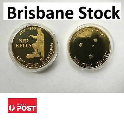"""2014 NED KELLY """"Last Stand"""" 1 Oz Coin, Finished in 24k 999 Gold"""