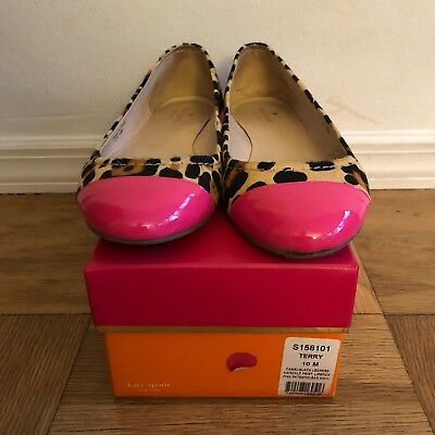 6b6d241ce655 Excellent Used Condition Kate Spade Leopard Calf-Hair Terry Flat Shoe Size  10