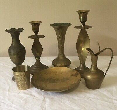 Brass Vase Etched & Various Brass Items 7 Items In Total Very Good Condition