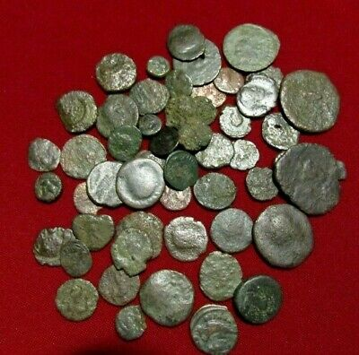 LOT OF 50+ Authentic Ancient Roman Bronze Coins. 2mm - 21mm.