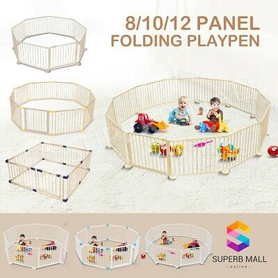 Wooden Pet Kids Baby Playpen Toddler Fence Play Yard Foldable 8/10 Panel
