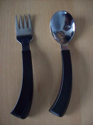 Spoon & Fork Amefa 18-10 Disability Right Hand Spoon & Fork with Black Handles