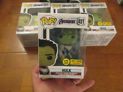 Funko Pop Marvel Avengers Endgame Hulk 451 Glows In The Dark Gitd Hot Topic 2019