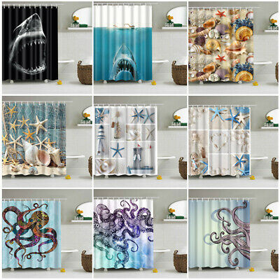 Beautiful Sea Octopus Whale Fabric Waterproof Bathroom Shower Curtain With Hooks