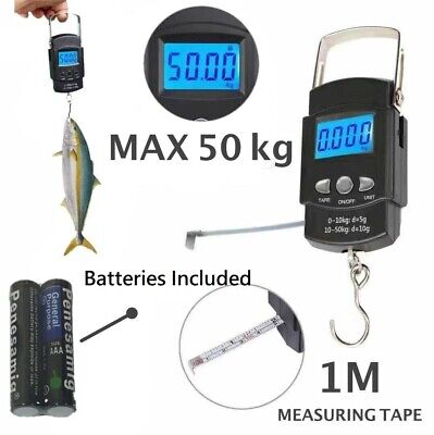 Fish Scale Portable Scale LCD Digital Weight 110lb/50kg with measuring tape