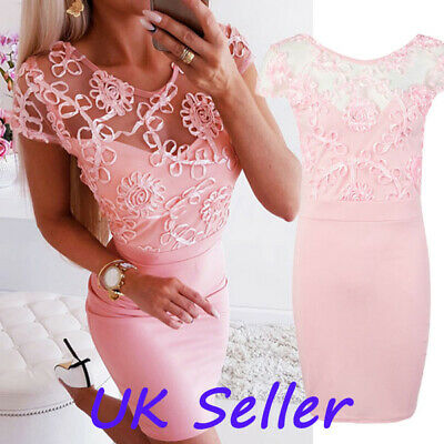 Elegant Womens Lace Floral Pink Dress Ladies Evening Party Holiday Bodycon Dress