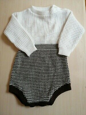 Vintage 1977 Boots Brown And Cream Knitted Playsuit Age 9-12 Months