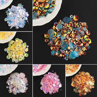 Mixed Star Flower Shell Leaf Shapes Sequins Pearls Beads DIY Apparel Sewing