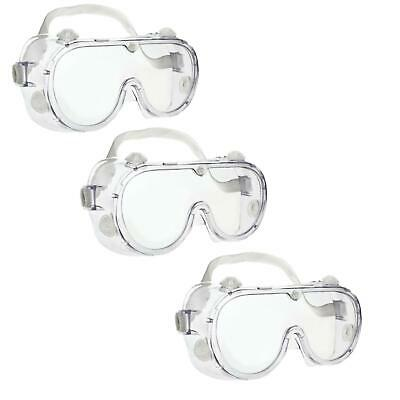 3 x Safety Goggles Eye Protection Glasses Clear Work Industrial Laboratory