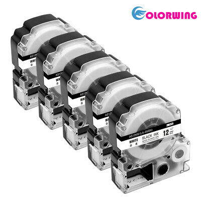 5 PK SS12KW Label Tape Black on White Compatible for Epson K-Sun LC-4WBN9 12mm