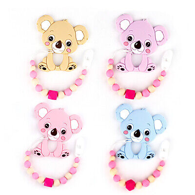 Koala Teether Round Silicone Beads Baby Dummy Soother Pacifier Clip Chain Holder