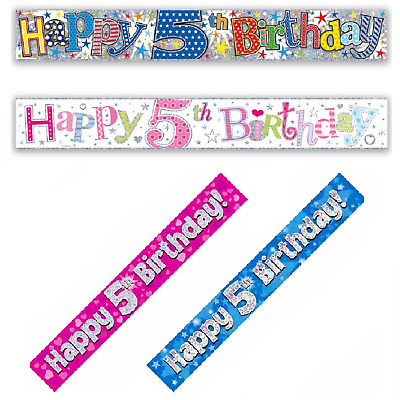 Happy 5th Birthday Holographic Foil 9ft Banner Boys Girls Party Decoration Age 5