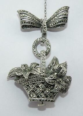 Carl Bucherer Marcasite Studded Silver Lapel Brooch and Watch C 1930s Working