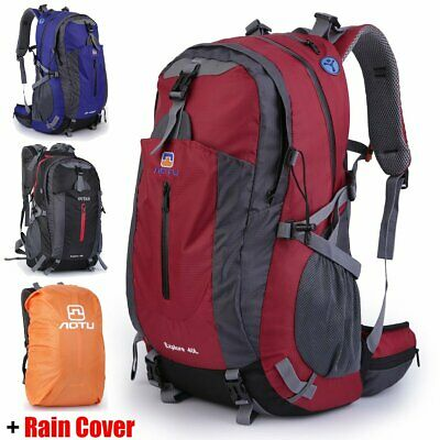 40L Military Tactical Army Rucksacks Molle Backpack Camping Hiking Bag+RainCover