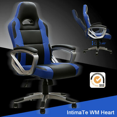 Executive Racing Gaming Office Chair Swivel Sport PU Leather Computer Desk Blue