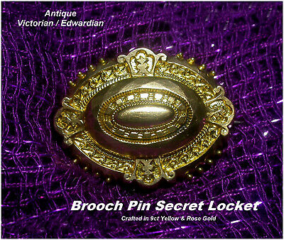 Antique Brooch Pin Secret Locket 9ct Gold Yellow +Rose Gold Victorian Edwardian