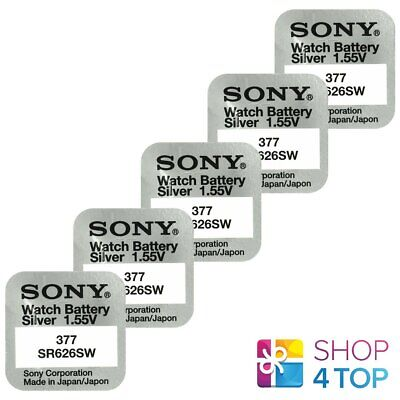 5 Sony 377 Sr626Sw Batteries Silver Oxide 1.55V Watch Battery Exp 2021 New