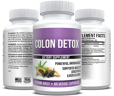 Colon Cleanse Detox Body Max Strength Diet Weight Loss Supplement Fat Burner