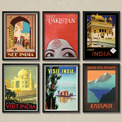 A4 Vintage Travel Posters: India Indian Poster Set