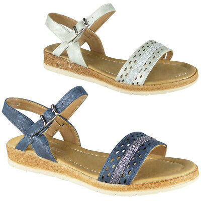 Womens Ladies Low Wedge Strappy Buckle Comfy Summer Peeptoe Sandals Shoes Sizes