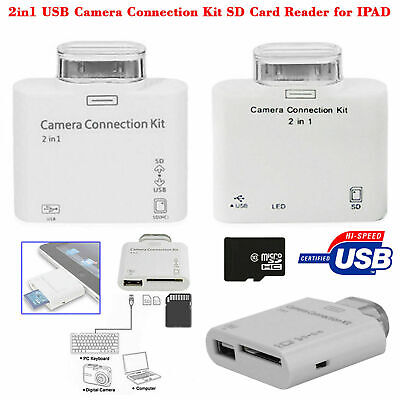 2 in 1 USB Camera Connection KIT Adapter SD Card Reader For iPad, iPad 2 Touch
