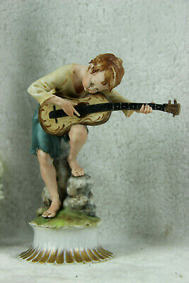 Tyche TOSCA Capodimonte marked porcelain guitar player statue figurine