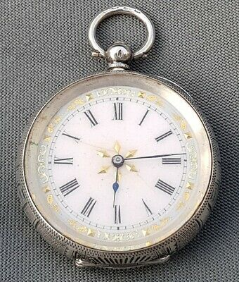 Antique Victorian Sterling Silver Cased Keywind Fob Pocket Watch