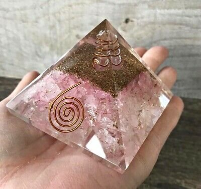 LARGE 70 mm-REIKI CHARGED ROSE QUARTZ CRYSTAL ORGONITE PYRAMID ENERGEY GENERATOR