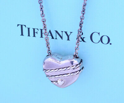 TIFFANY&Co Arrow Heart Pendant Necklace Sterling Silver 925 a18