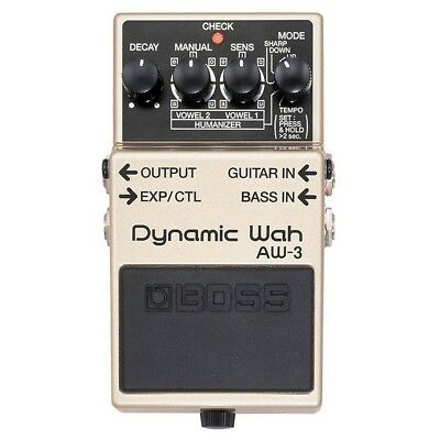 Boss Aw-3 Dynamic Auto Wah Wah Guitar Effects Pedal + 2 Free Guitar Plectrums