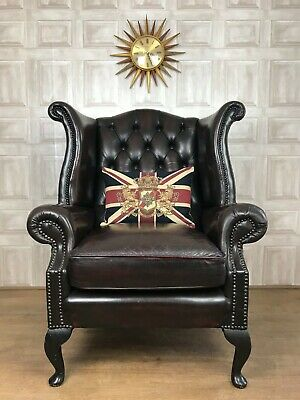 Oxblood Red Leather Chesterfield Armchairs - Queen Anne Wingback *£55 DELIVERY*