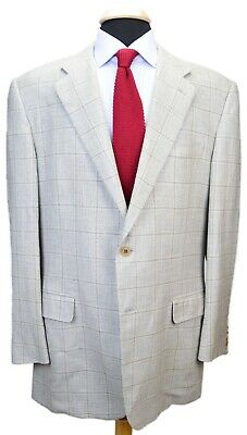 Cantarelli Light Gray Windowpane Silk Wool Blend Dual Vent Sport Coat 54 44 L