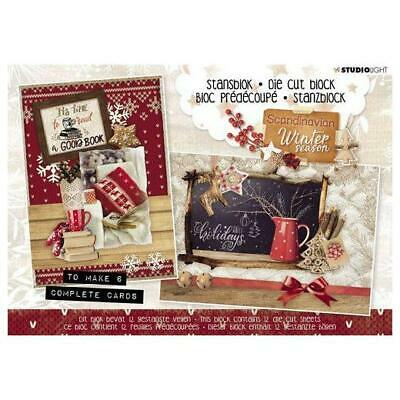 Studio Light A5 Die Cut Block Makes 6 Cards Traditional Christmas #25