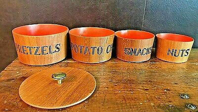 Vintage Mid Century Modern 4 Nesting Bowls with Lid Snack Set