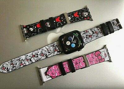 Apple Watch Mickey Hello Kitty Pattern Leather Band for I watch Series 54 3 2 1