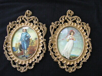 Vintage Blue Boy Pinky Wall Plaques Mod Depose Convex Glass Italy Set 7 x 11