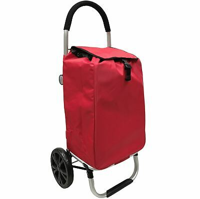 2 Wheels Deluxe Shopping Trolley with back pocket  &  Extra Large Wheels Red
