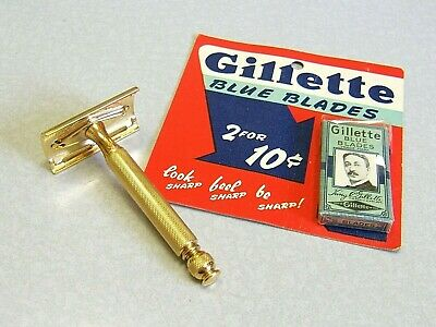 Vintage Gold Replate Gillette Tech 1946 - 1950 DE Safety Razor & NOS Blue Blades