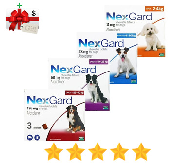 Nexgard Flea & Tick Control For Dogs - 3 Chews in Pack - Made in France
